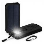 太陽光でも充電できる大容量15000mAh防水バッテリー(高輝度LED照明つき) 画像